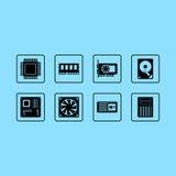 Εικονίδια Ιστού υλικού υπολογιστών καθορισμένα Στοκ Φωτογραφίες