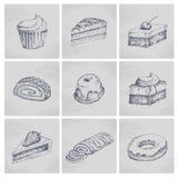 Εικονίδια κέικ σκίτσων Στοκ εικόνες με δικαίωμα ελεύθερης χρήσης