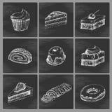 Εικονίδια κέικ σκίτσων Στοκ Φωτογραφίες