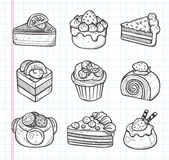Εικονίδια κέικ Doodle Στοκ Φωτογραφίες