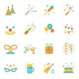 Εικονίδια καθορισμένα: Αντικείμενα κόμματος Διανυσματική απεικόνιση