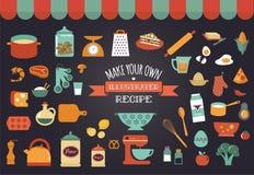 Εικονίδια και απεικονίσεις τροφίμων - διανυσματική συλλογή Στοκ εικόνα με δικαίωμα ελεύθερης χρήσης