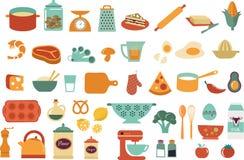 Εικονίδια και απεικονίσεις τροφίμων - διανυσματική συλλογή Στοκ Εικόνα