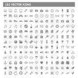 182 εικονίδια και εικονογράμματα καθορισμένα Στοκ Φωτογραφία