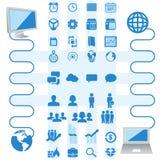 Εικονίδια και επιχείρηση και υπολογιστής infographics απεικόνιση αποθεμάτων