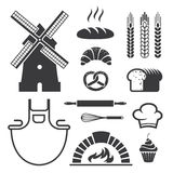 Εικονίδια και σύμβολα αρτοποιείων Στοκ εικόνα με δικαίωμα ελεύθερης χρήσης