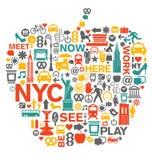 Εικονίδια και σύμβολα πόλεων της Νέας Υόρκης Στοκ Εικόνες