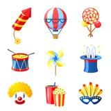 Εικονίδια καρναβαλιού καθορισμένα Στοκ εικόνα με δικαίωμα ελεύθερης χρήσης
