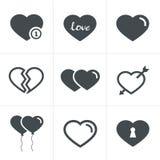 Εικονίδια καρδιών καθορισμένα, διανυσματικό σχέδιο Στοκ Εικόνες