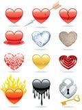 εικονίδια καρδιών Στοκ εικόνες με δικαίωμα ελεύθερης χρήσης