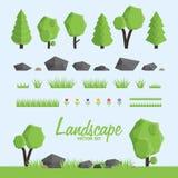 Εικονίδια κατασκευαστών τοπίων καθορισμένα Δέντρα, στοιχεία πετρών και χλόης για το σχέδιο τοπίων Διανυσματική απεικόνιση
