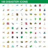 100 εικονίδια καταστροφής καθορισμένα, ύφος κινούμενων σχεδίων Στοκ Φωτογραφίες