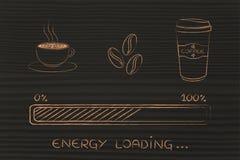 Εικονίδια καφέ με το awakeness φόρτωσης φραγμών προόδου, ενεργειακή έκδοση Στοκ Εικόνες