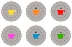 εικονίδια καφέ που τίθενται Στοκ Εικόνες