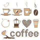 εικονίδια καφέ Στοκ φωτογραφίες με δικαίωμα ελεύθερης χρήσης