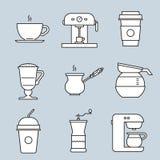 Εικονίδια καφέ απεικόνιση αποθεμάτων