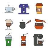 Εικονίδια καφέ διανυσματική απεικόνιση