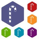 Εικονίδια καλάμων καραμελών καθορισμένα hexagon απεικόνιση αποθεμάτων