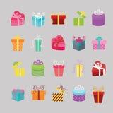 Εικονίδια κιβωτίων δώρων καθορισμένα Ελεύθερη απεικόνιση δικαιώματος