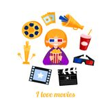 Εικονίδια κινηματογράφων κοριτσιών κινηματογράφων goer καθορισμένα Στοκ εικόνα με δικαίωμα ελεύθερης χρήσης
