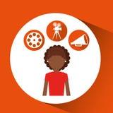 Εικονίδια κινηματογράφων κοριτσιών κινούμενων σχεδίων Στοκ φωτογραφία με δικαίωμα ελεύθερης χρήσης
