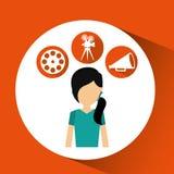 Εικονίδια κινηματογράφων κοριτσιών κινούμενων σχεδίων Στοκ φωτογραφίες με δικαίωμα ελεύθερης χρήσης