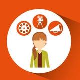 Εικονίδια κινηματογράφων κοριτσιών κινούμενων σχεδίων Στοκ εικόνες με δικαίωμα ελεύθερης χρήσης