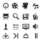 Εικονίδια κινηματογράφων που τίθενται Στοκ εικόνα με δικαίωμα ελεύθερης χρήσης