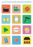 Εικονίδια κινηματογράφων Στοκ Εικόνες