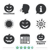 Εικονίδια κομμάτων αποκριών Σύμβολο κολοκύθας Στοκ εικόνα με δικαίωμα ελεύθερης χρήσης