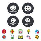 Εικονίδια κομμάτων αποκριών Σύμβολο κολοκύθας Στοκ εικόνες με δικαίωμα ελεύθερης χρήσης