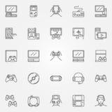 Εικονίδια κονσολών παιχνιδιών καθορισμένα Στοκ Φωτογραφία