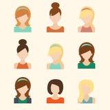 Εικονίδια κοριτσιών καθορισμένα Στοκ Φωτογραφία
