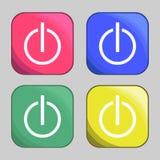 Εικονίδια κουμπιών δύναμης Στοκ Εικόνα