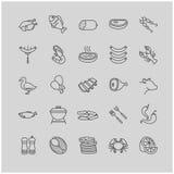 Εικονίδια κρέατος και ψαριών Στοκ Φωτογραφίες