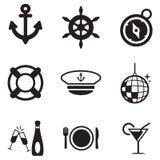 Εικονίδια κρουαζιέρας βαρκών Στοκ Εικόνα