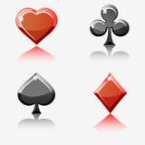 Εικονίδια κρυστάλλου καρτών πόκερ Στοκ Φωτογραφία