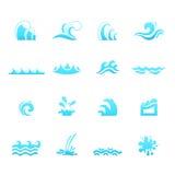 Εικονίδια κυμάτων νερού ελεύθερη απεικόνιση δικαιώματος
