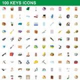 100 εικονίδια κλειδιών καθορισμένα, ύφος κινούμενων σχεδίων Στοκ Φωτογραφίες