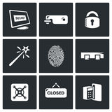 Εικονίδια κλειδώματος καθορισμένα επίσης corel σύρετε το διάνυσμα απεικόνισης Στοκ Φωτογραφία