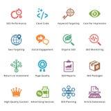Εικονίδια μάρκετινγκ SEO & Διαδικτύου - σύνολο 4 | Χρωματισμένη σειρά Στοκ Εικόνες