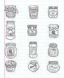 Εικονίδια μαρμελάδας Doodle Στοκ Φωτογραφίες