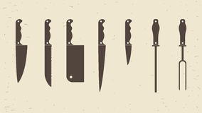 Εικονίδια μαχαιριών συνόλου ή κουζινών Knifes επίσης corel σύρετε το διάνυσμα απεικόνισης Στοκ εικόνα με δικαίωμα ελεύθερης χρήσης