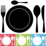 Εικονίδια μαχαιροπήρουνων και πιάτων Στοκ Εικόνες