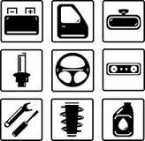 Εικονίδια μερών αυτοκινήτων καθορισμένα Στοκ εικόνες με δικαίωμα ελεύθερης χρήσης