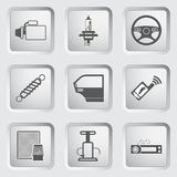 Εικονίδια μερών και υπηρεσιών αυτοκινήτων καθορισμένα. Στοκ εικόνες με δικαίωμα ελεύθερης χρήσης