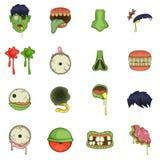Εικονίδια μερών Zombie καθορισμένα, ύφος κινούμενων σχεδίων Στοκ Εικόνες