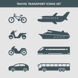 Εικονίδια μεταφορών ταξιδιού καθορισμένα Στοκ εικόνες με δικαίωμα ελεύθερης χρήσης