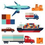 Εικονίδια μεταφορών φορτίου φορτίου που τίθενται στο επίπεδο σχέδιο Στοκ Φωτογραφία