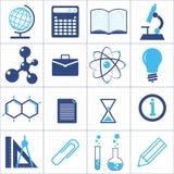 Εικονίδια μιας επιστήμης και μιας εκπαίδευσης Στοκ Φωτογραφίες